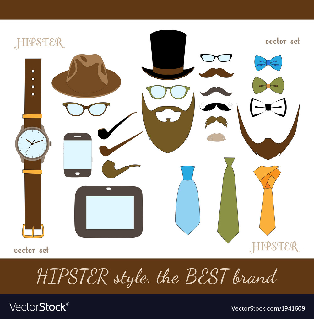 Hipster accessory icons set vector | Price: 1 Credit (USD $1)