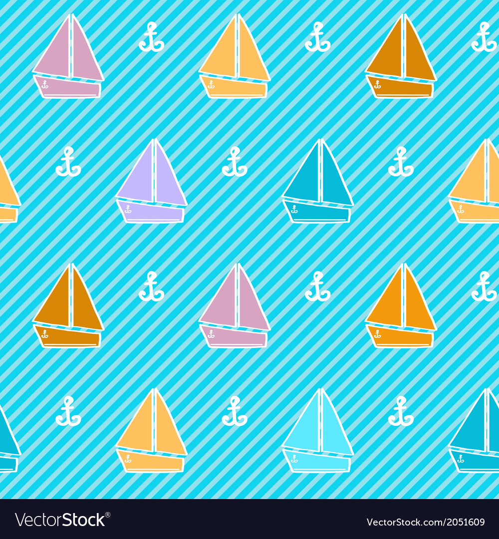 Seamless pattern with colorful boats vector | Price: 1 Credit (USD $1)