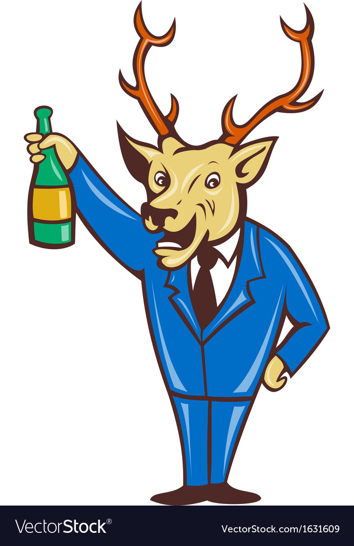 Stag deer holding champagne wine bottle vector | Price: 1 Credit (USD $1)