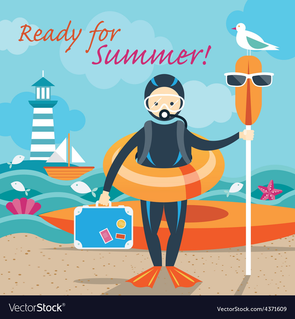 Summer sea diver with swim objects vector | Price: 1 Credit (USD $1)