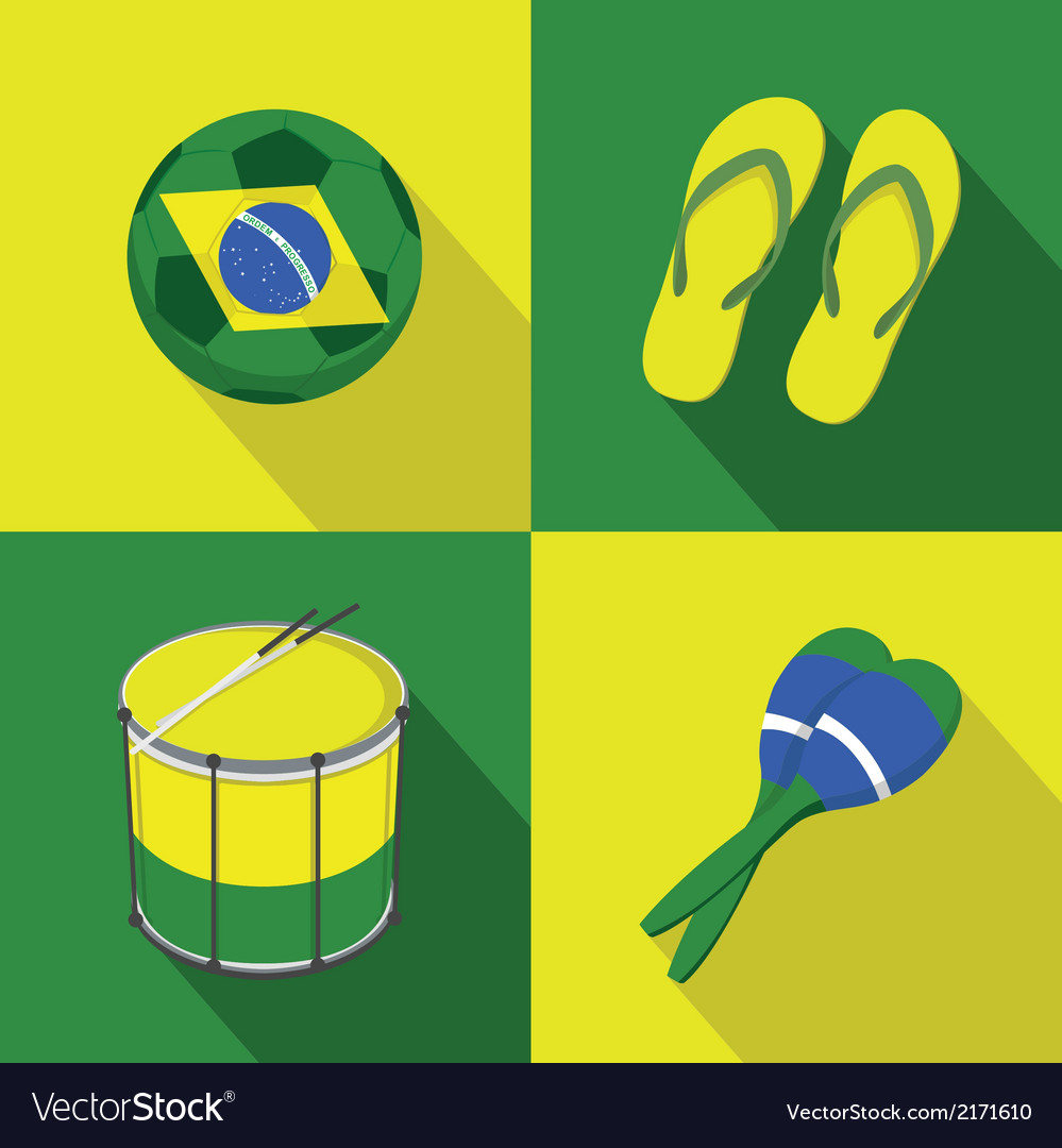 Brazil soccer football icons flat style vector | Price: 1 Credit (USD $1)