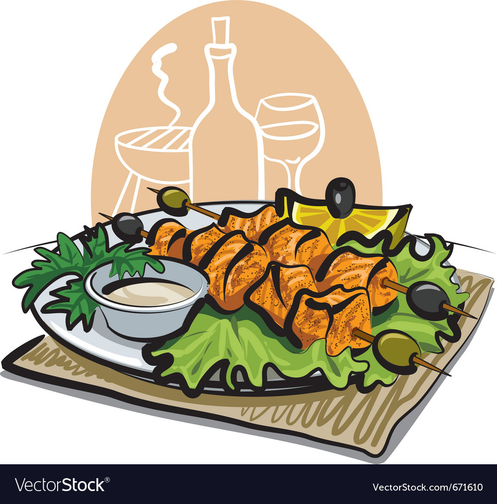 Grilled salmon kebab vector | Price: 3 Credit (USD $3)