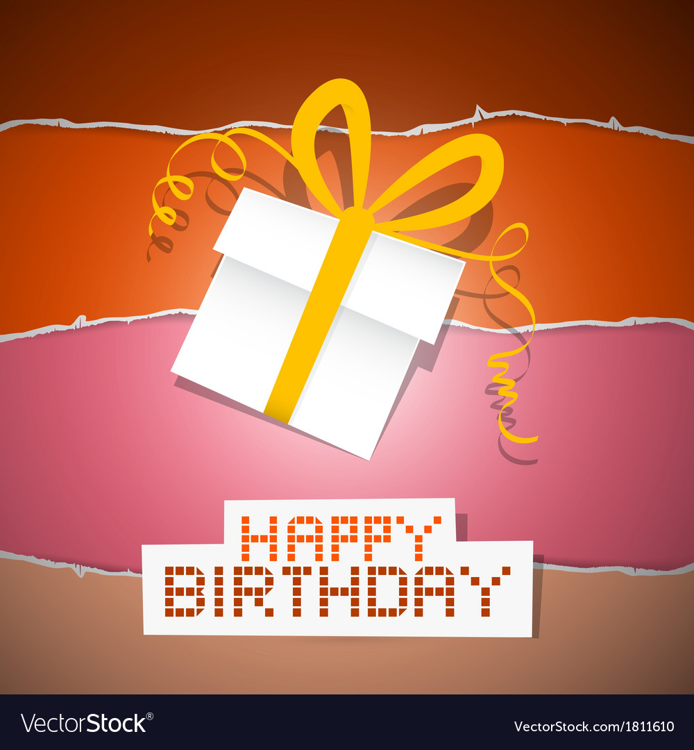 Happy birthday torn paper retro background with vector | Price: 1 Credit (USD $1)
