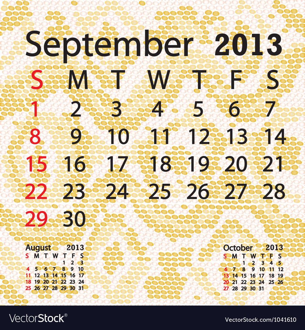 September 2013 calendar albino snake skin vector | Price: 1 Credit (USD $1)