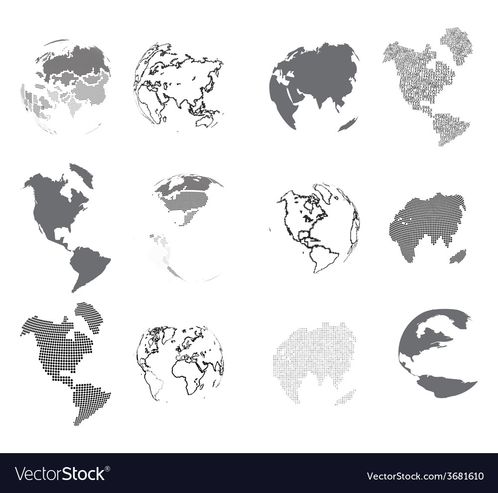 Set of design elements-dotted globes vector   Price: 1 Credit (USD $1)