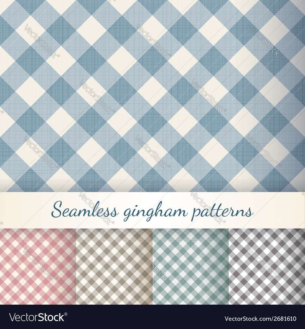 Set of seamless checkered gingham patterns vector | Price: 1 Credit (USD $1)