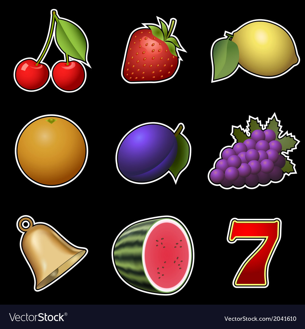 Slot machine fruit symbols vector | Price: 1 Credit (USD $1)