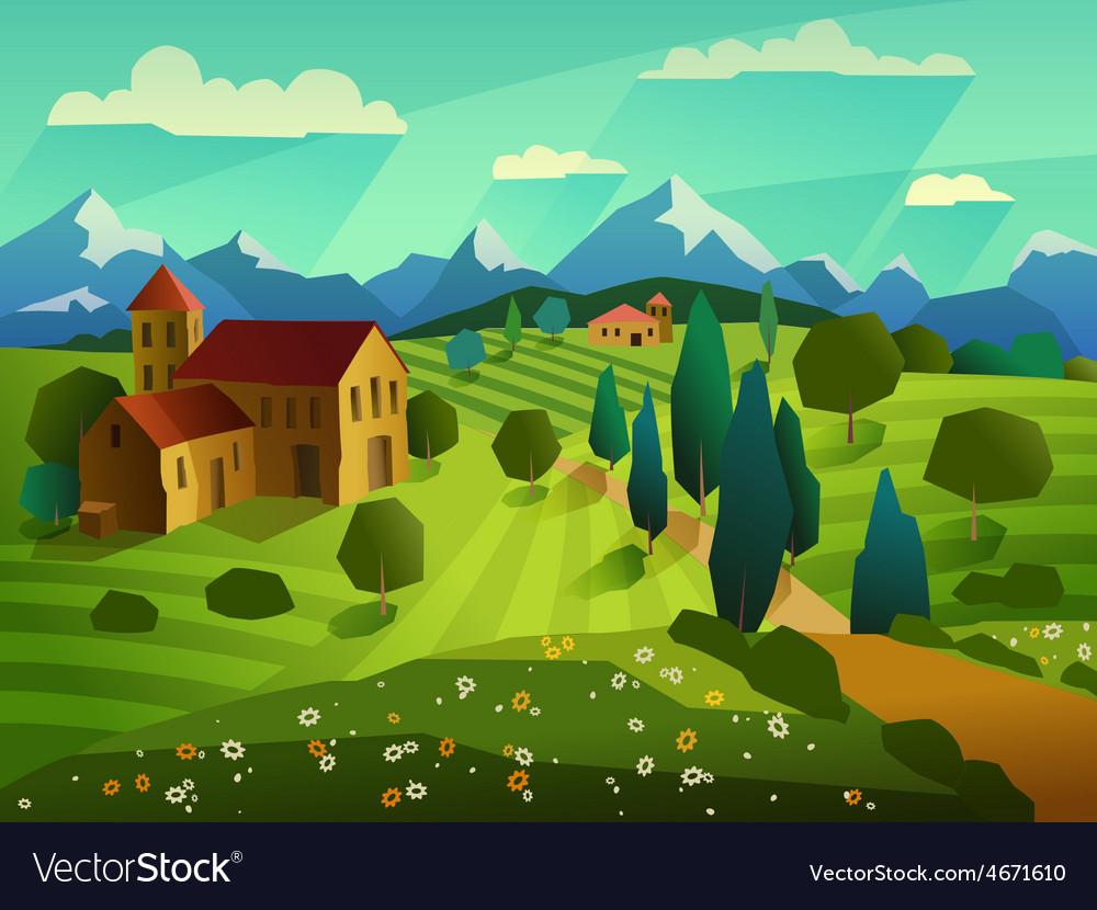 Summer landscape background vector   Price: 1 Credit (USD $1)