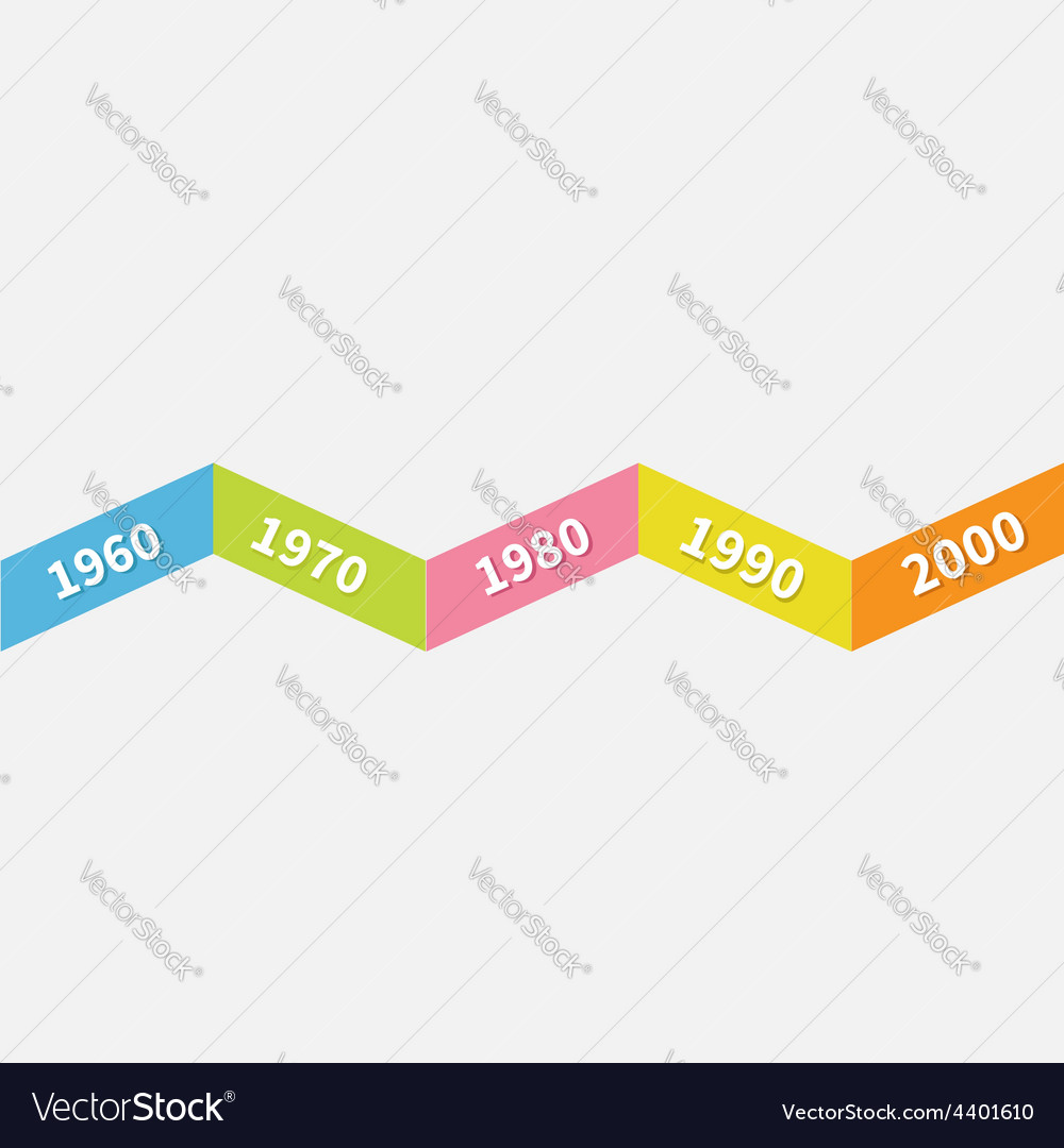Timeline infographic zigzag ribbon line template vector | Price: 1 Credit (USD $1)