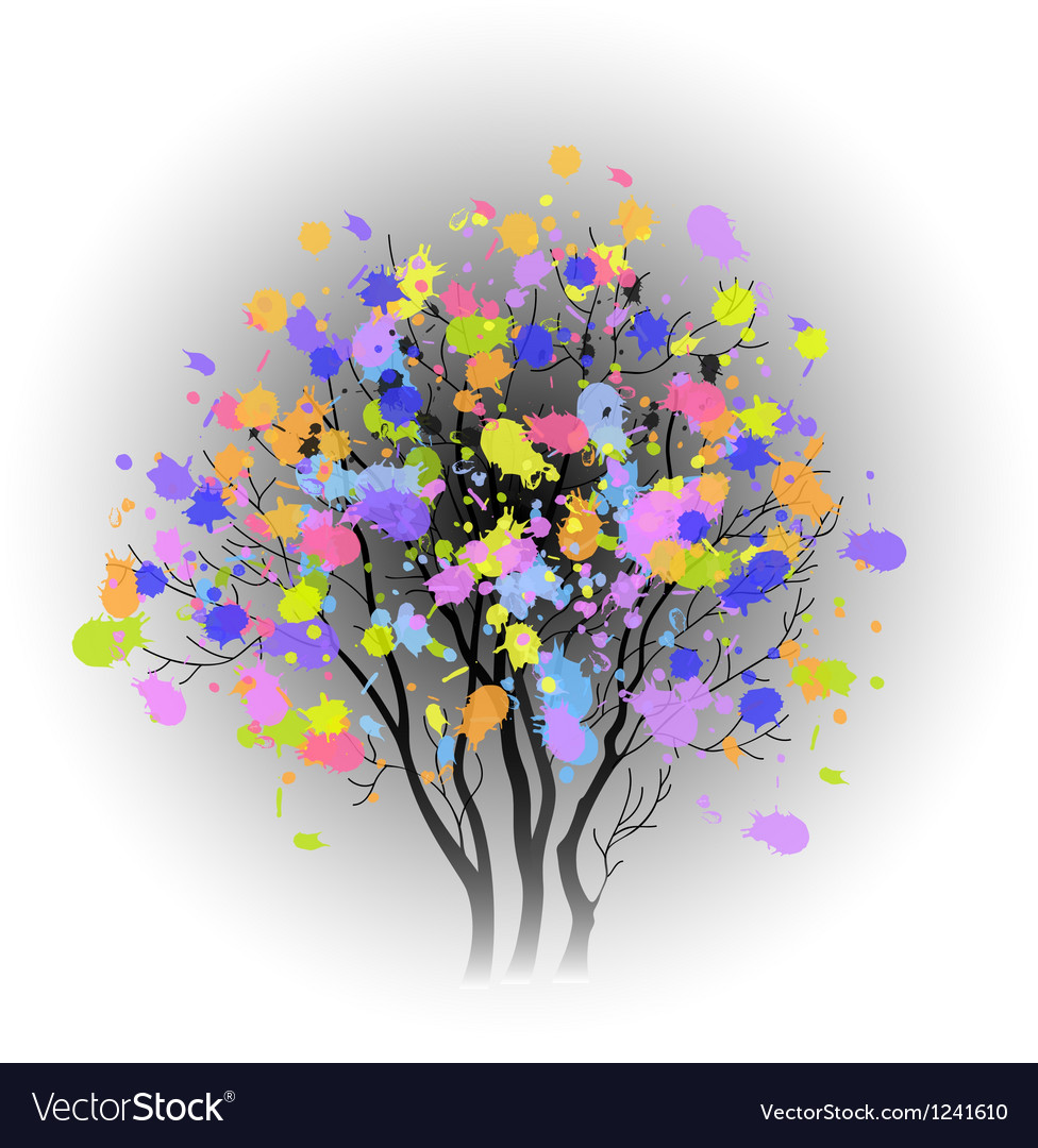 Tree with colorful spots vector | Price: 1 Credit (USD $1)