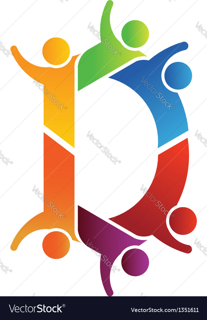 Alphabet teamwork letter d vector | Price: 1 Credit (USD $1)