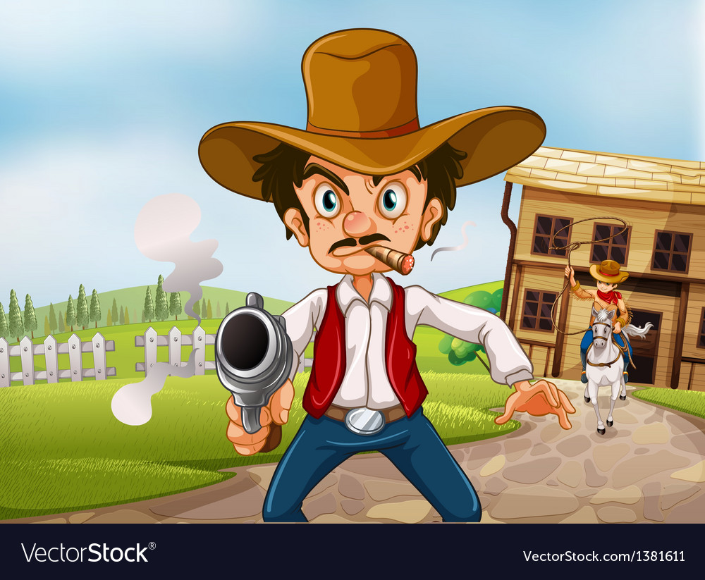 An old man wearing a hat holding a gun with a vector | Price: 1 Credit (USD $1)