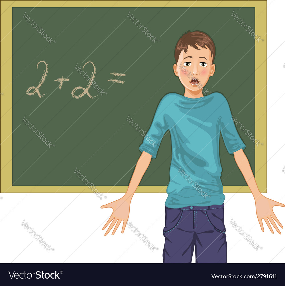 Cartoon image of a perplexed boy at blackboard in vector | Price: 1 Credit (USD $1)