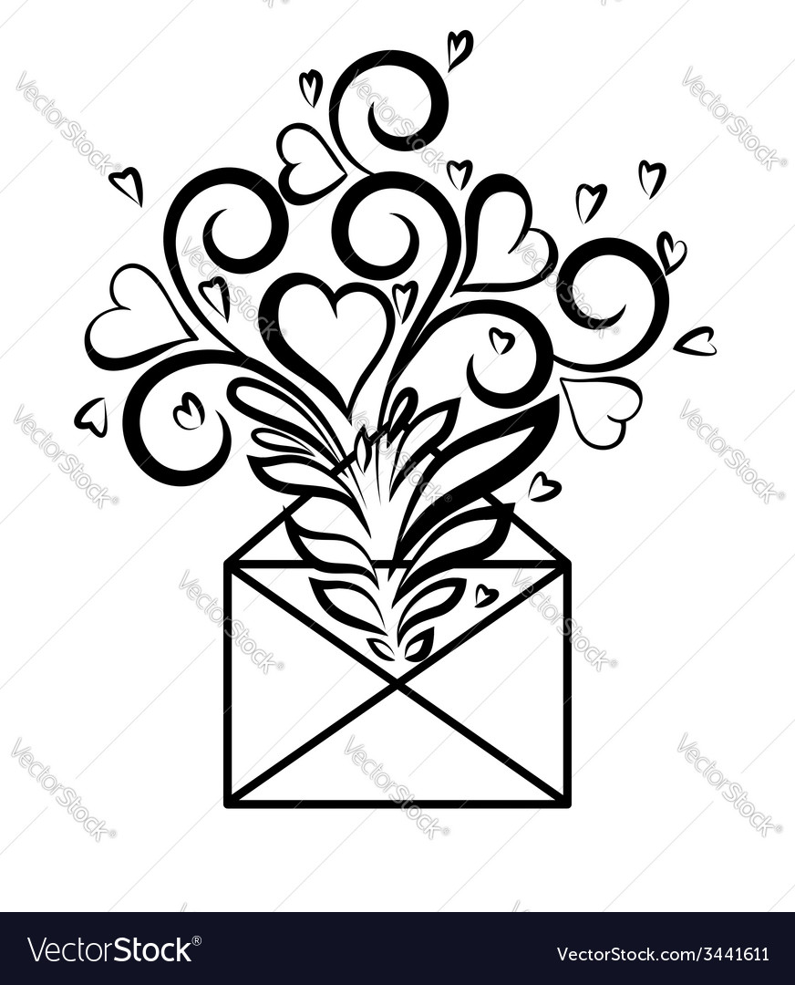 Envelope with floral design and hearts vector | Price: 1 Credit (USD $1)