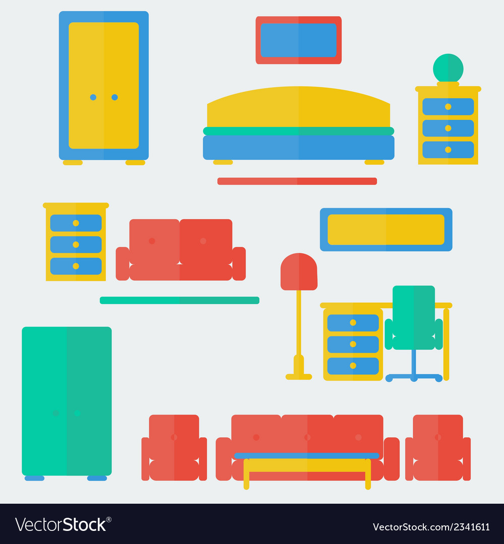 Furniture set vector | Price: 1 Credit (USD $1)