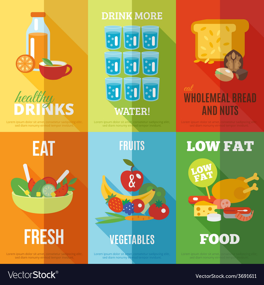 Healthy eating poster set vector | Price: 1 Credit (USD $1)