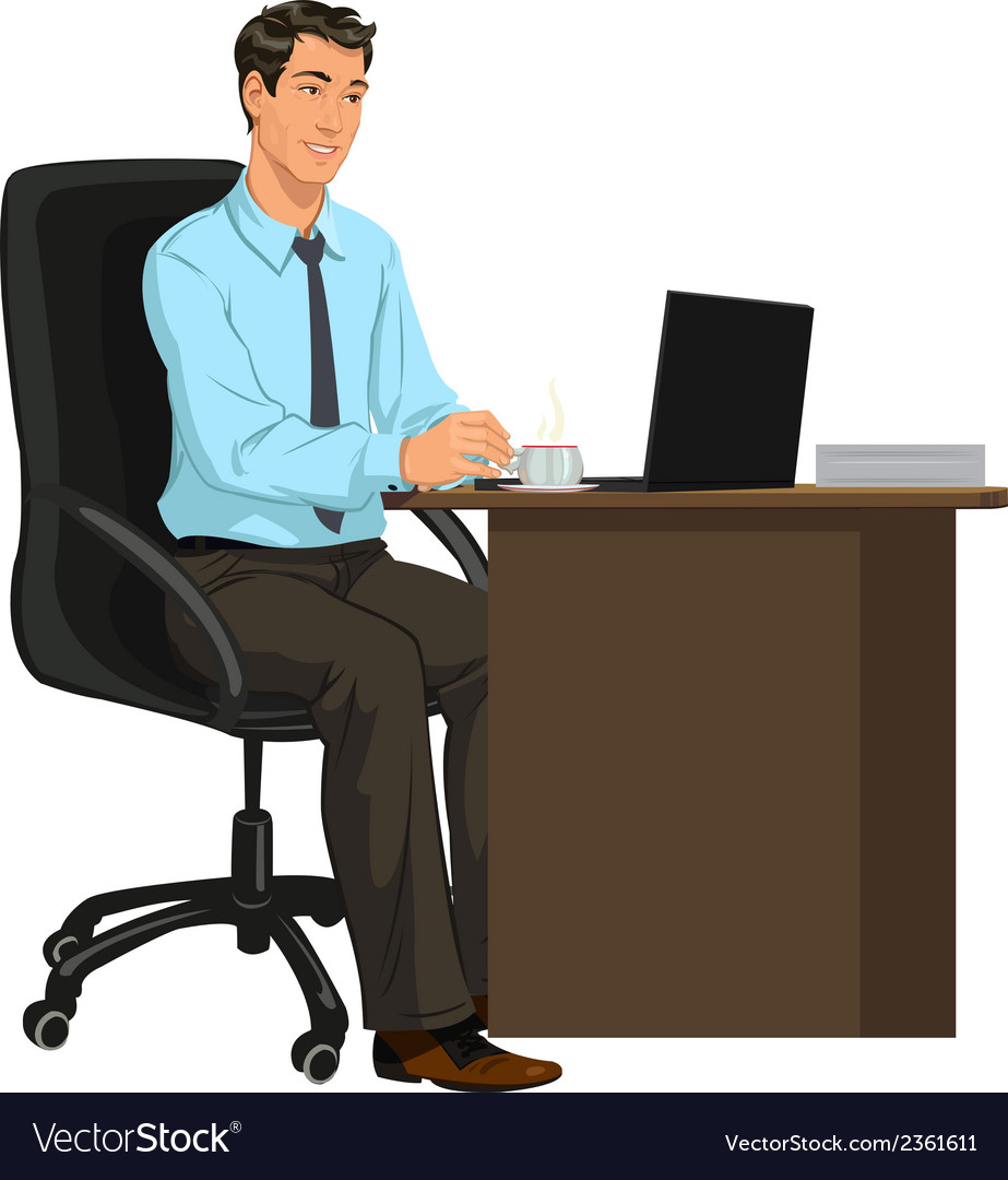 Man at the desk with laptop vector | Price: 1 Credit (USD $1)