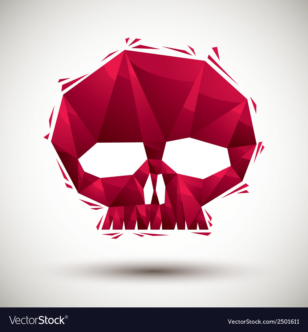 Red skull geometric icon made in 3d modern style vector | Price: 1 Credit (USD $1)