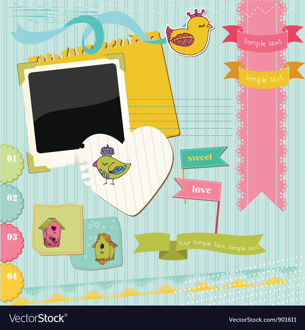 Scrapbook design elements vector | Price: 1 Credit (USD $1)