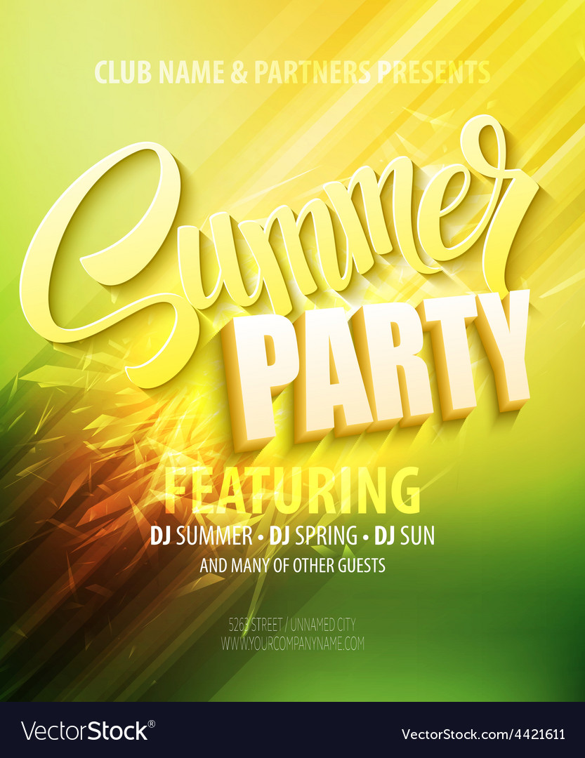 Summer party template poster vector | Price: 1 Credit (USD $1)