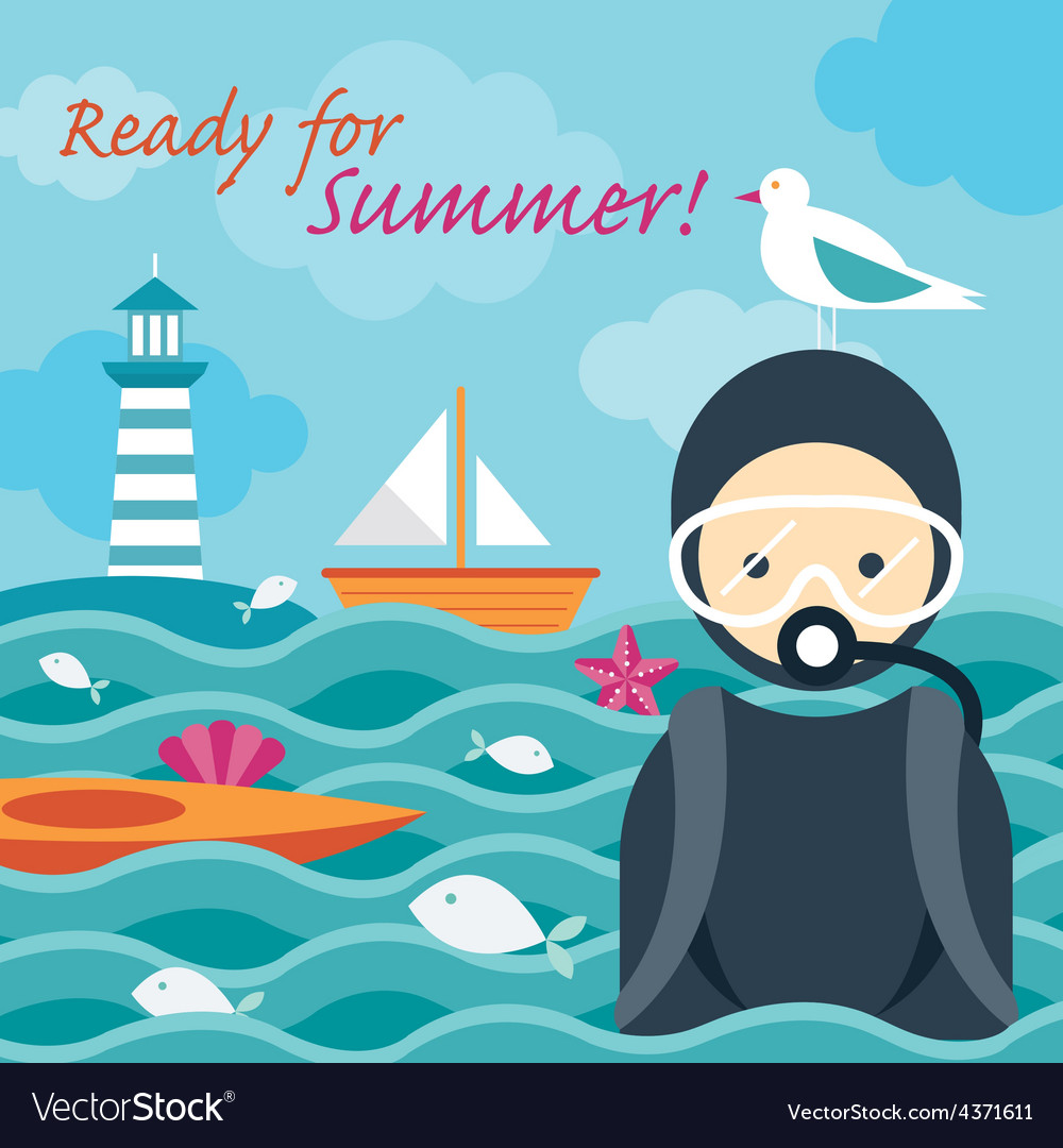 Summer sea diver in the sea vector | Price: 1 Credit (USD $1)