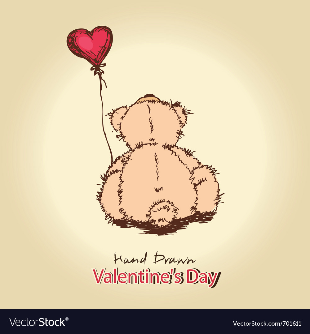 Teddy bear with red heart balloon vector | Price: 1 Credit (USD $1)