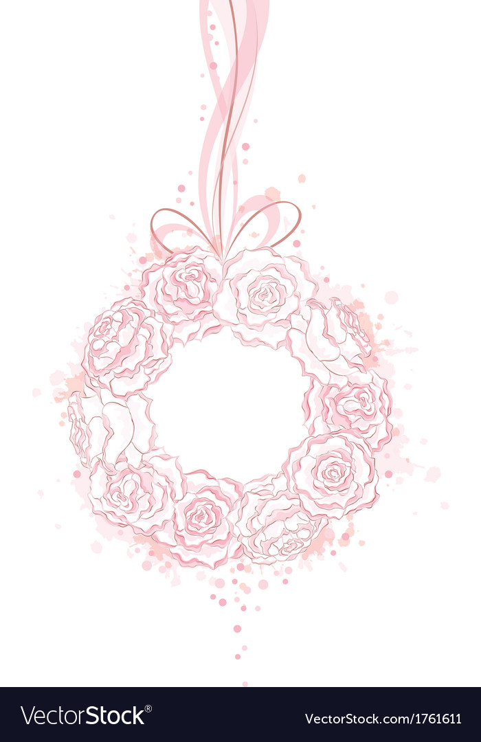 Wedding decorative wreath of roses with copy space vector | Price: 1 Credit (USD $1)