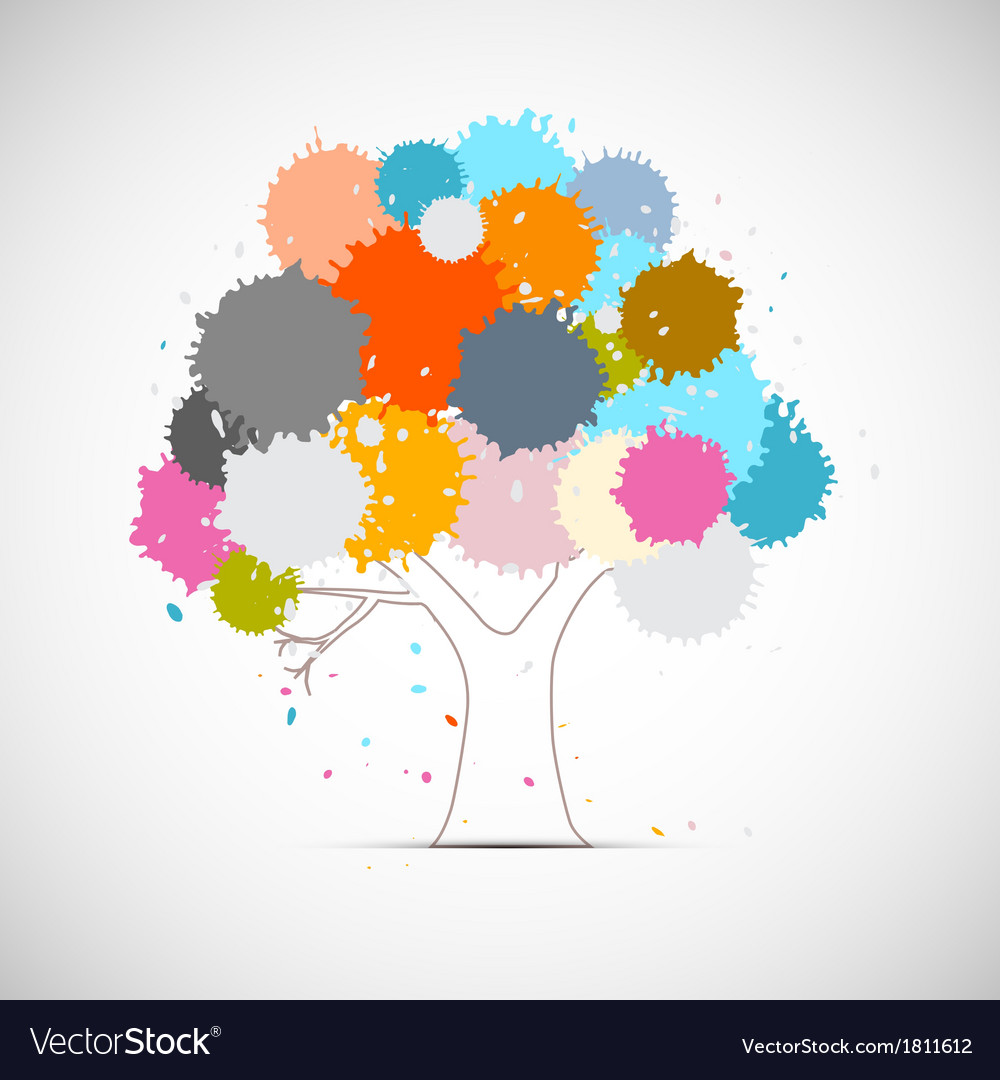 Abstract tree with colorful blots splashes vector | Price: 1 Credit (USD $1)