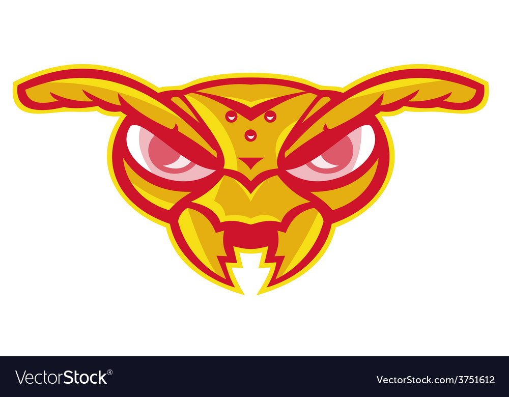 Angry hornet wasp ant insect head vector