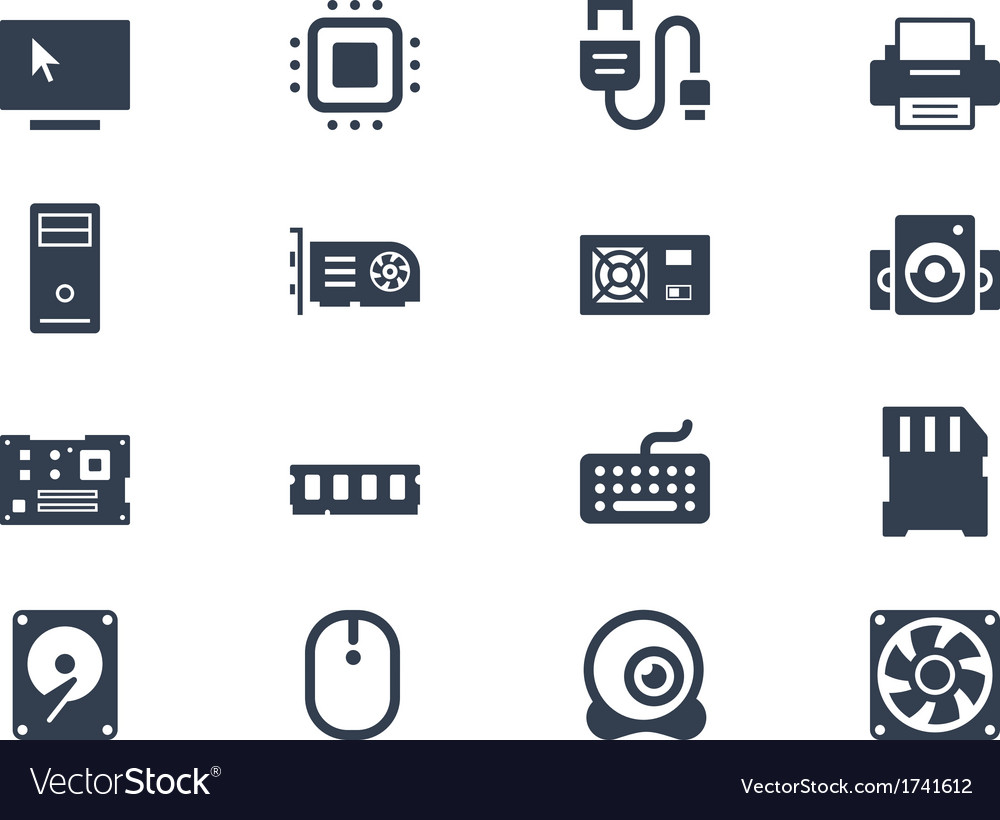Computer hardware icons vector | Price: 1 Credit (USD $1)