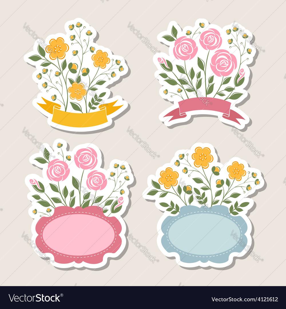 Floral romantic borders set vector | Price:  Credit (USD $)