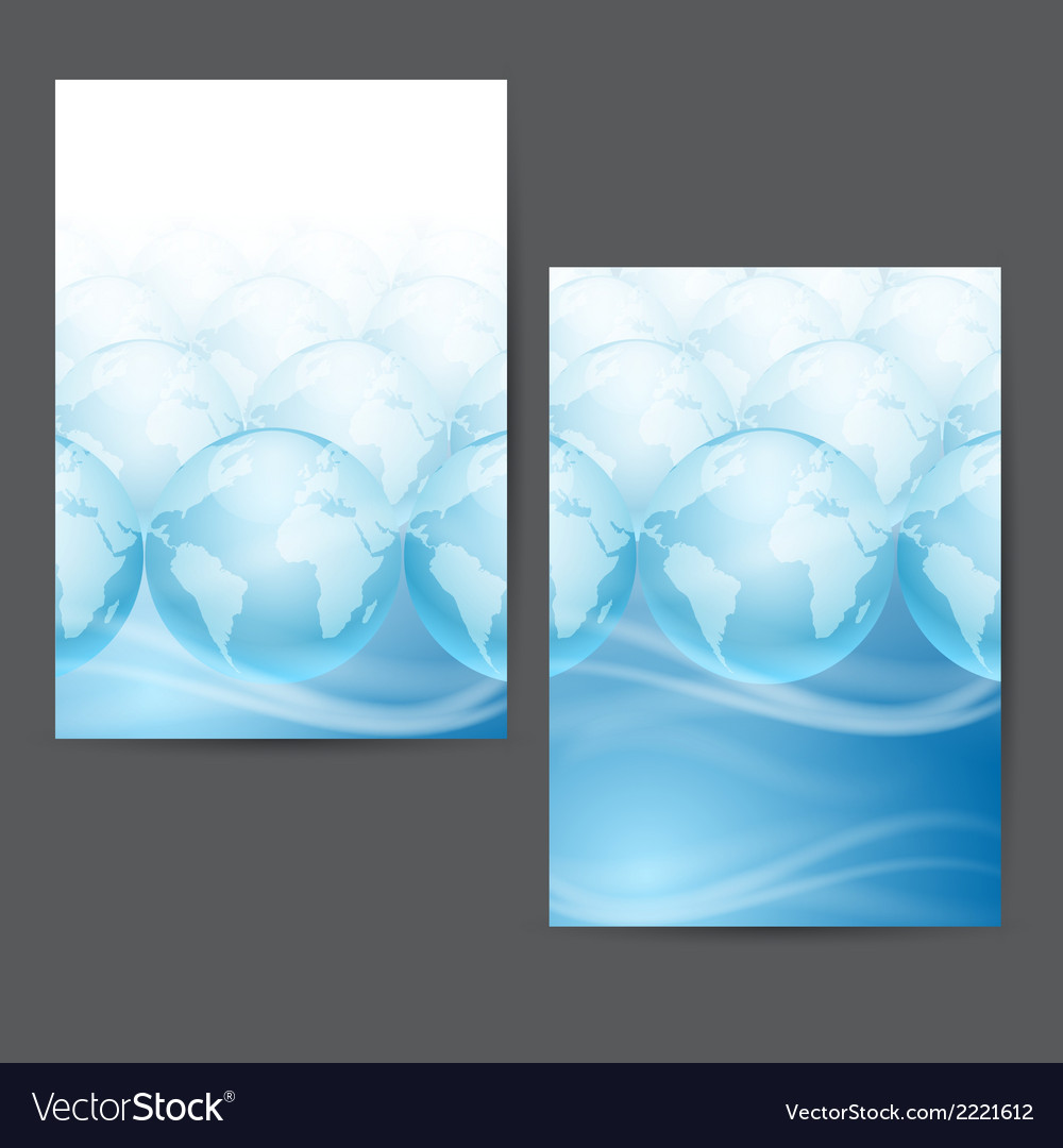 Globes on a blue background with place for text vector | Price: 1 Credit (USD $1)