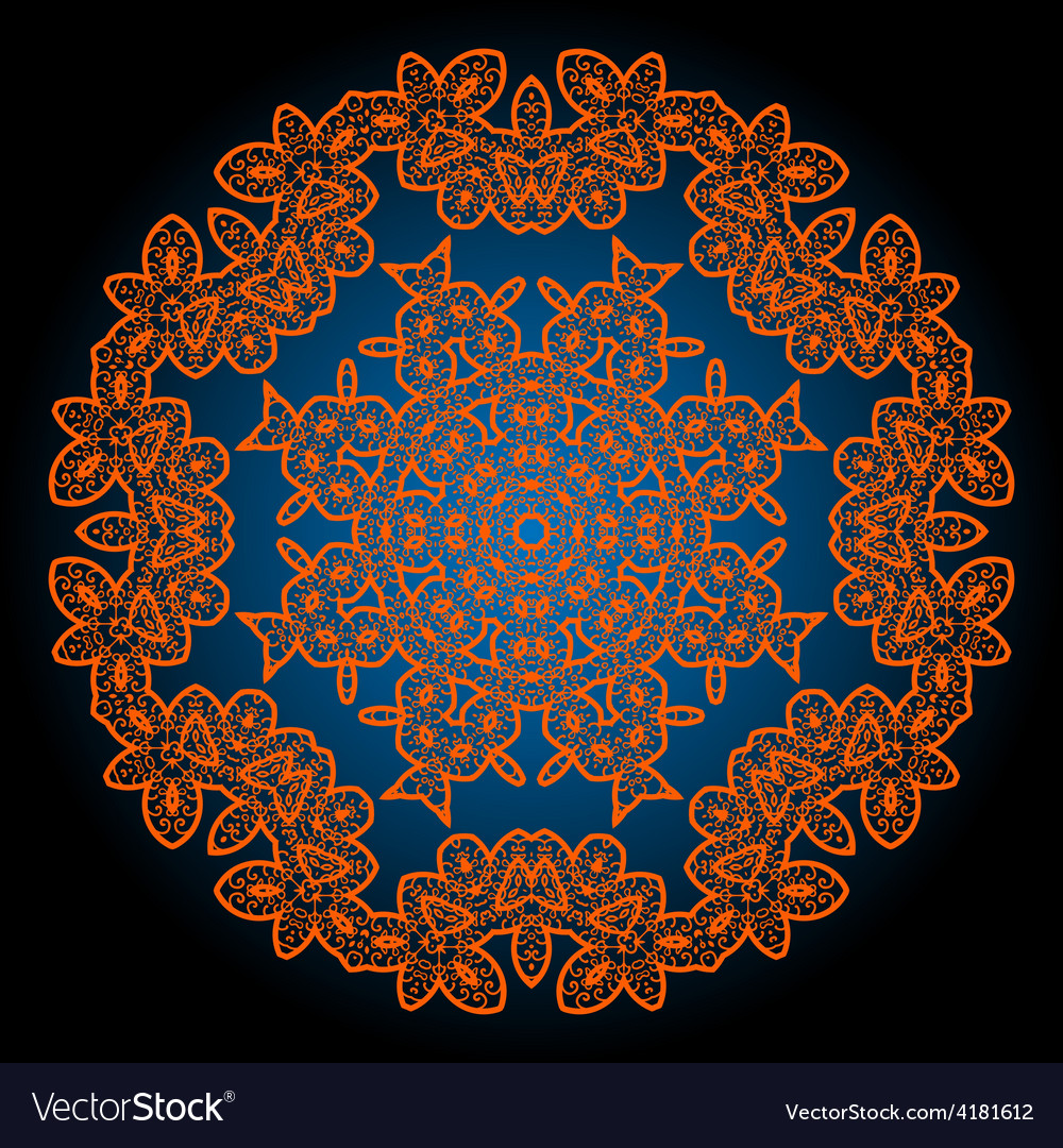 Henna coloured outlined mandala background vector | Price: 1 Credit (USD $1)