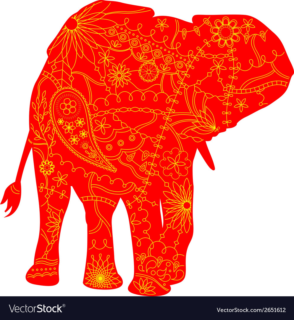 Indian elephant silhouette vector | Price: 1 Credit (USD $1)
