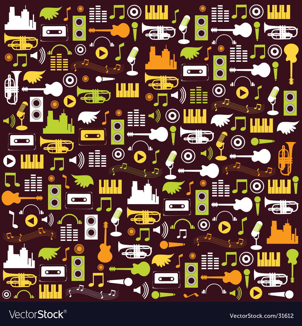 Music elements wallpaper vector | Price: 1 Credit (USD $1)
