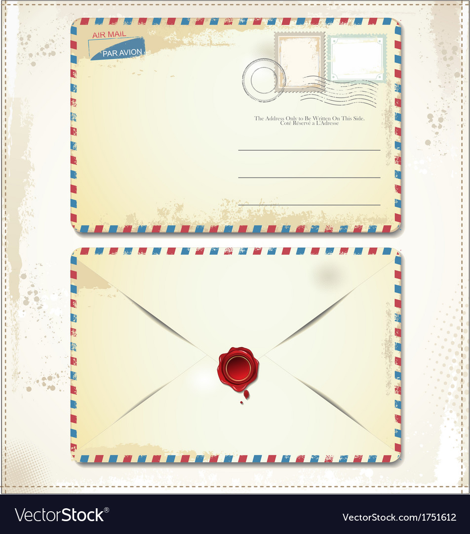 Old postage envelope with stamps and wax seal vector | Price: 1 Credit (USD $1)