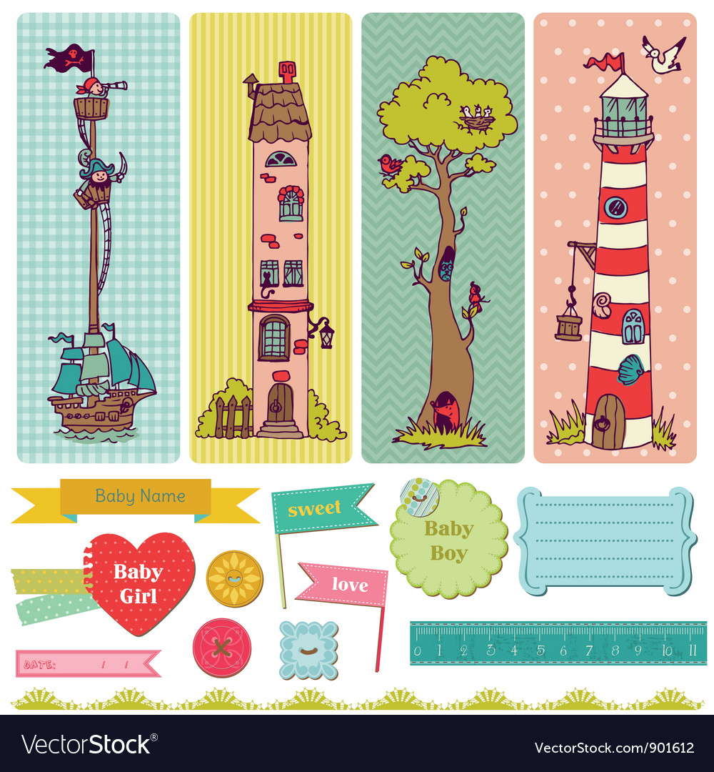 Scrapbook design elements  vintage child set vector
