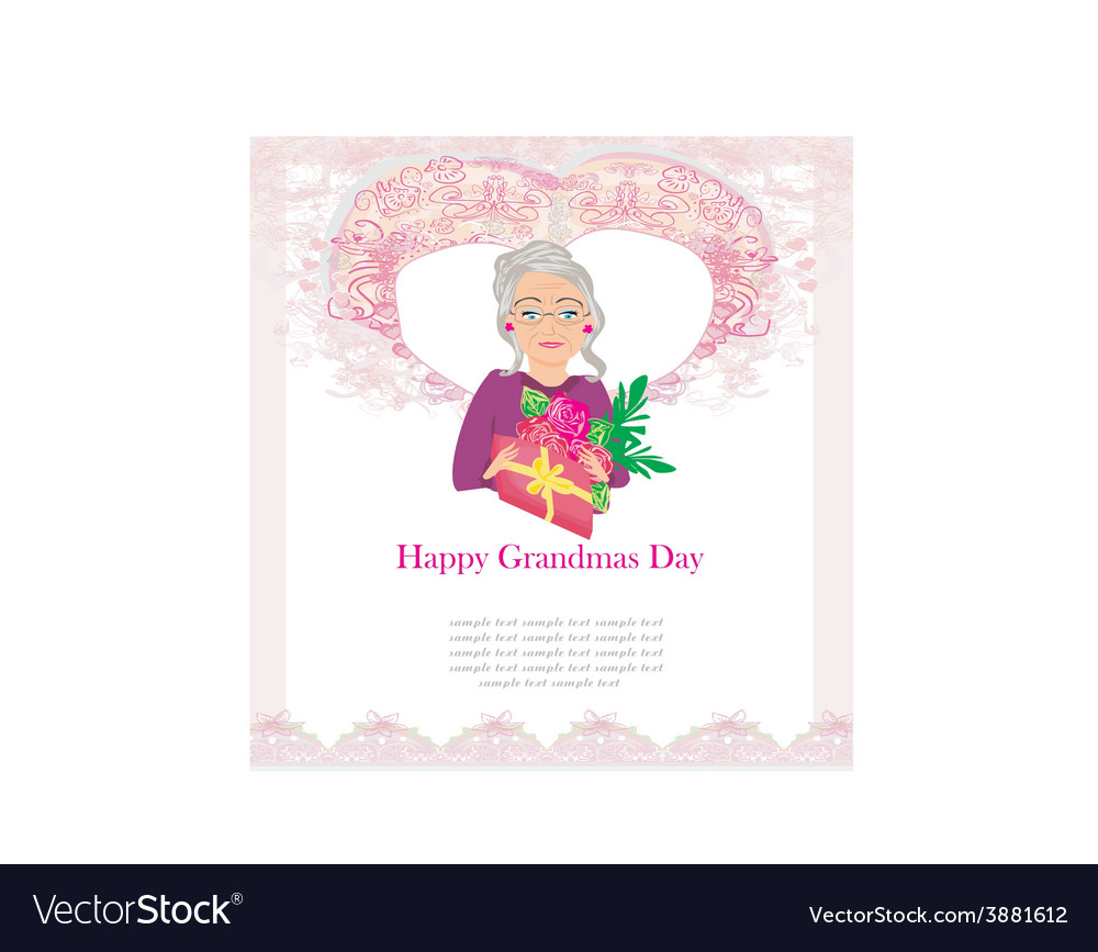 Senior woman with a bunch of flowers happy vector | Price: 1 Credit (USD $1)
