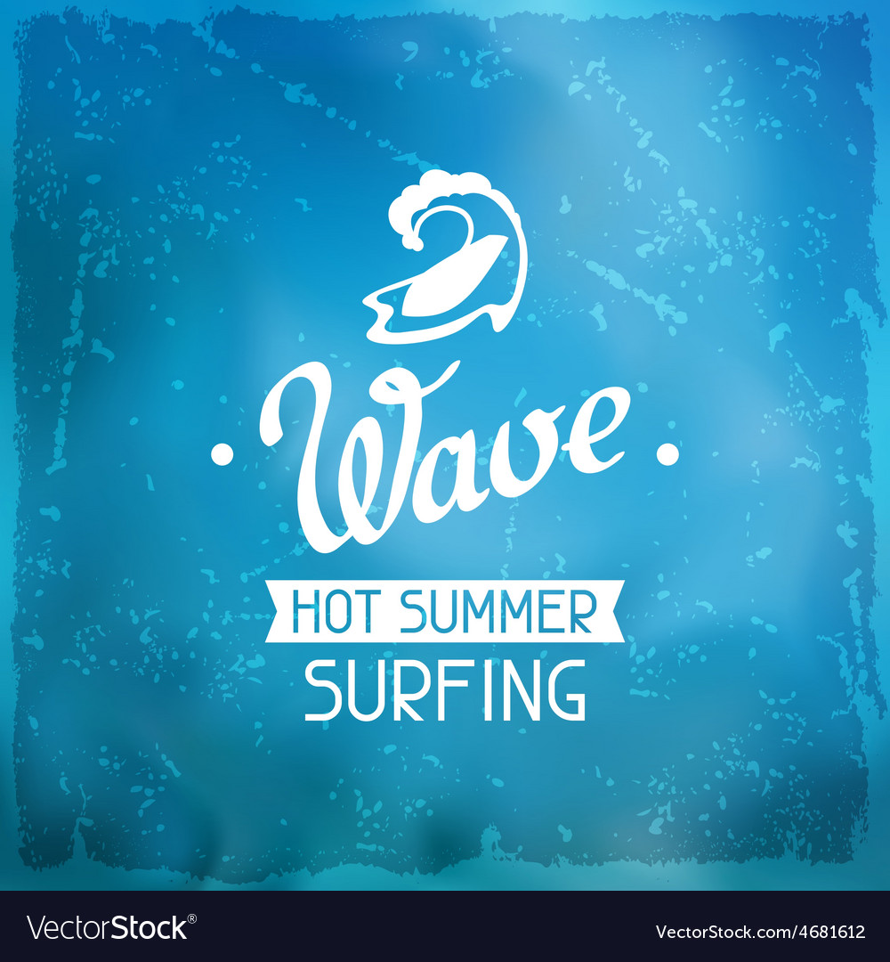 Surfing label on meshes background with stains vector | Price: 1 Credit (USD $1)