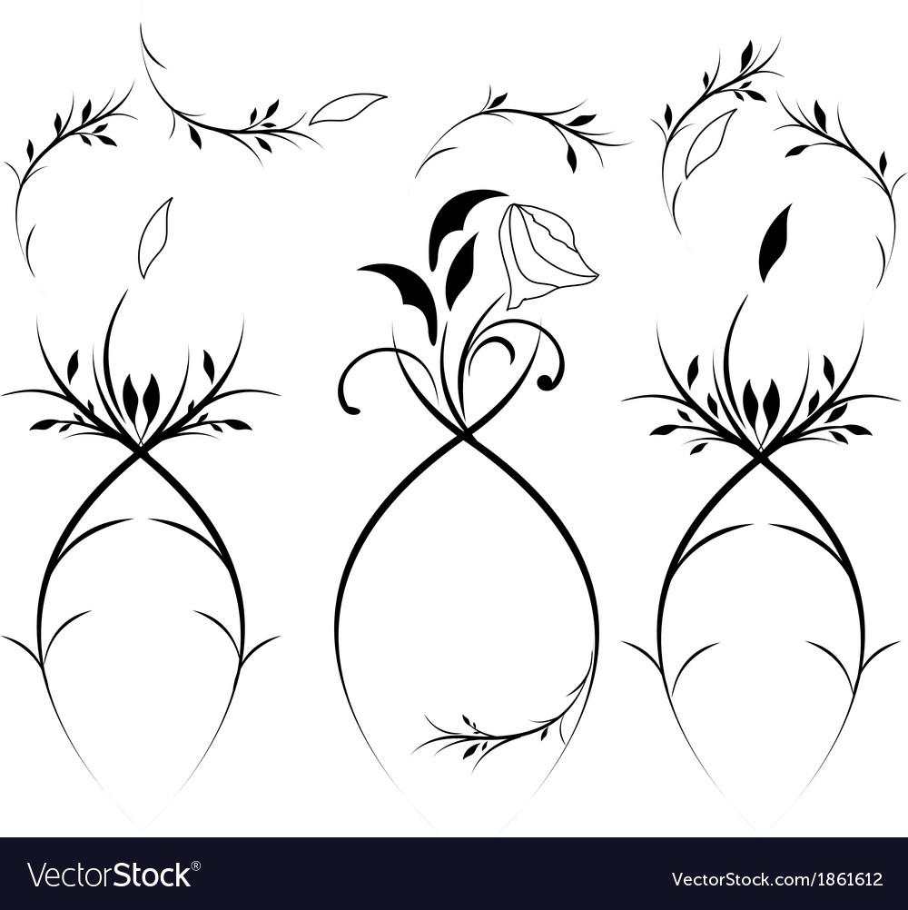 Vintage floral design element vector | Price: 1 Credit (USD $1)