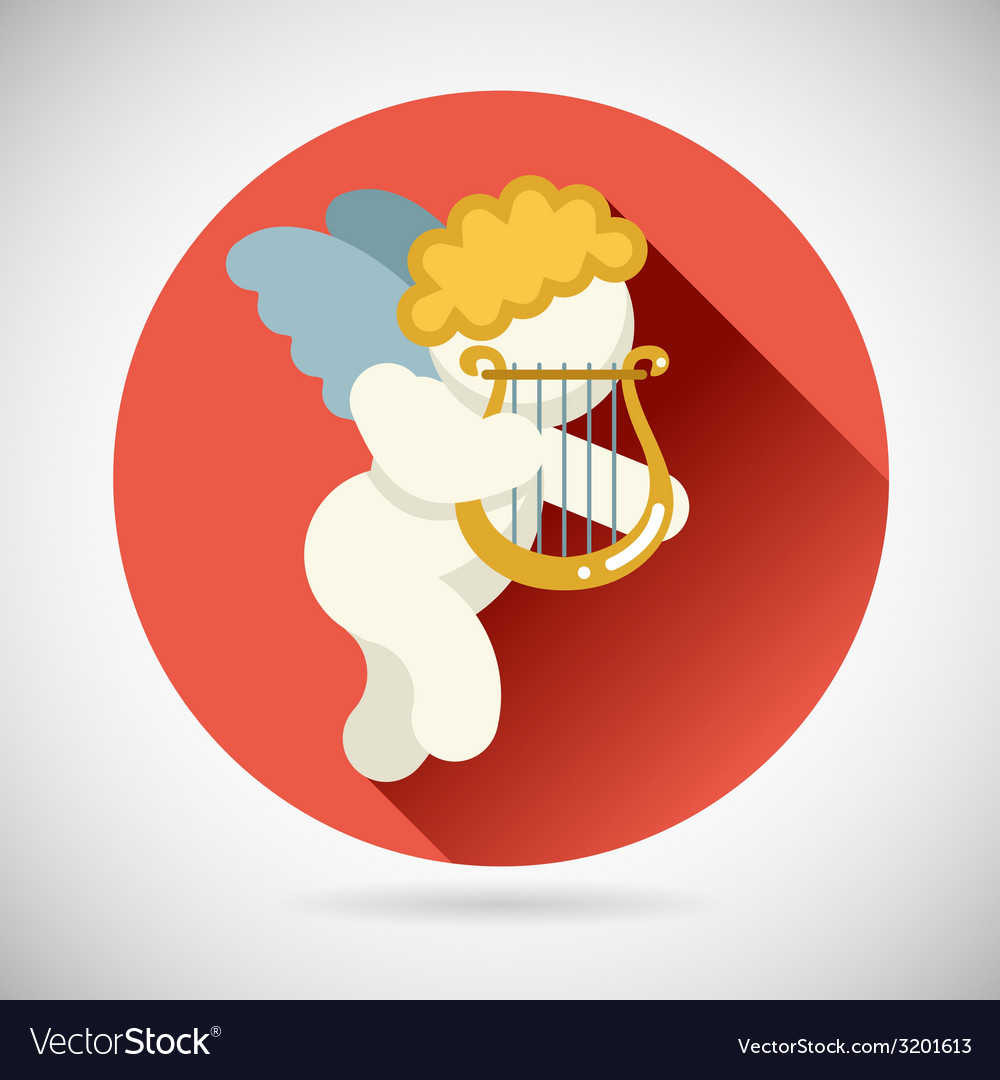 Angel cherub symbol baby boy with harp lira icon vector | Price: 1 Credit (USD $1)