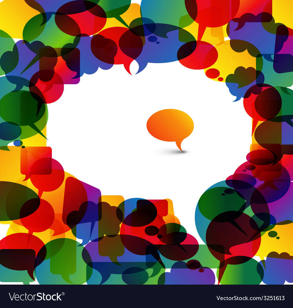Big speech bubble made from colorful small bubbles vector | Price: 1 Credit (USD $1)