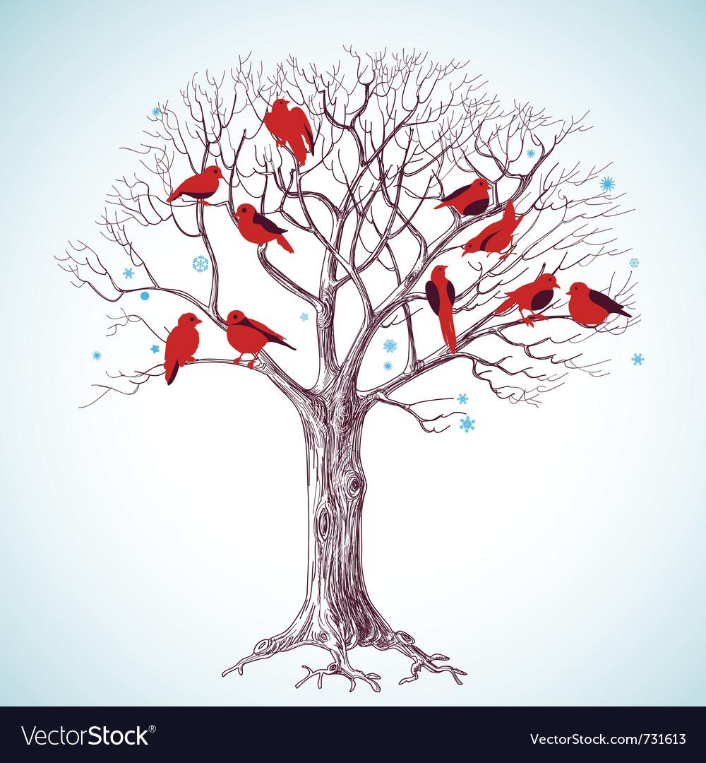 Birds tree vector | Price: 1 Credit (USD $1)