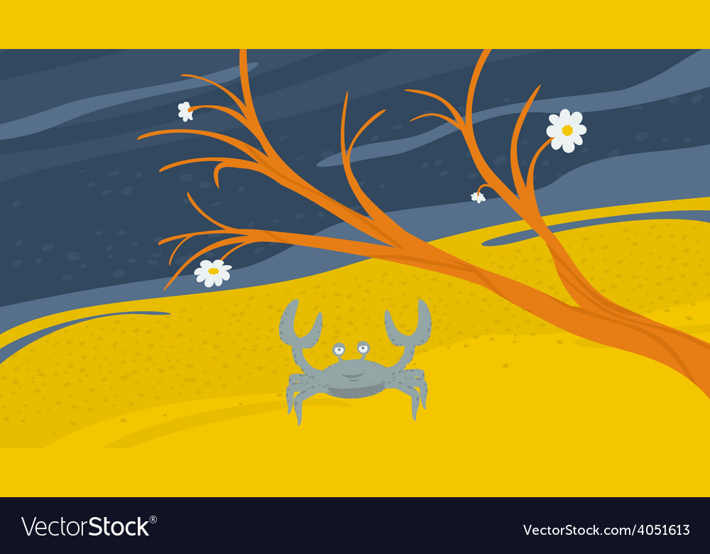 Crab on the shore vector | Price: 1 Credit (USD $1)