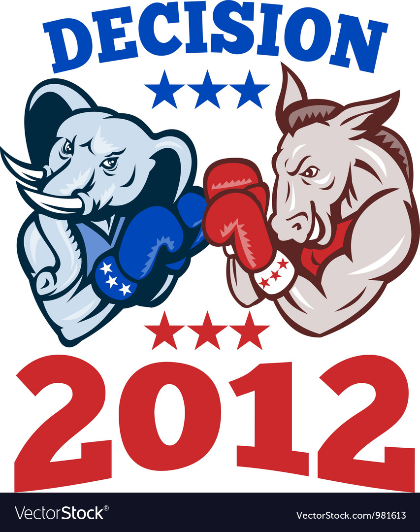 Democrat donkey republican elephant decision 2012 vector | Price: 1 Credit (USD $1)