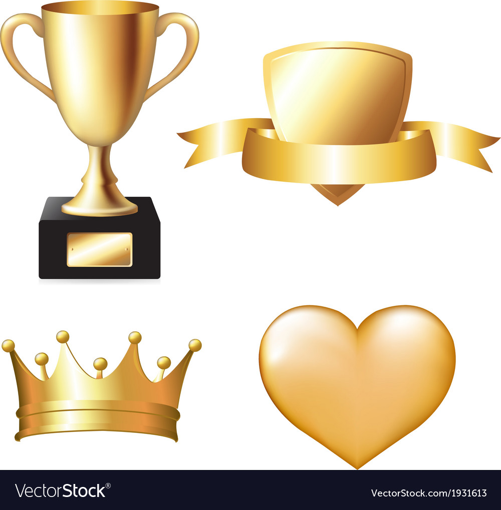 Gold trophy set vector | Price: 1 Credit (USD $1)