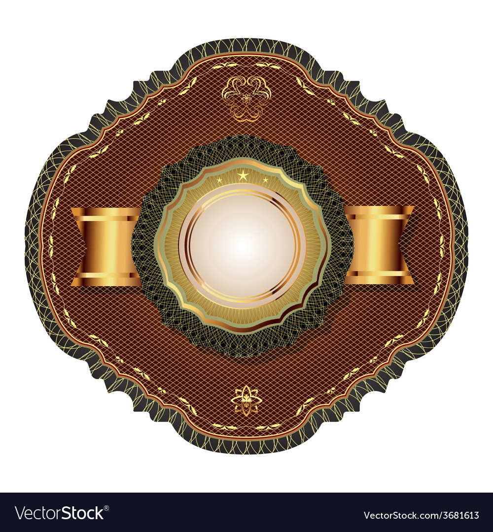 Golden vintage template-emblem and heraldry vector | Price: 1 Credit (USD $1)