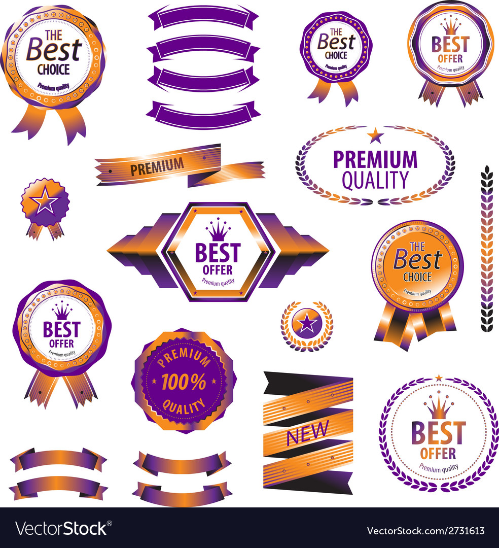Luxury orange premium quality best choice labels vector | Price: 1 Credit (USD $1)