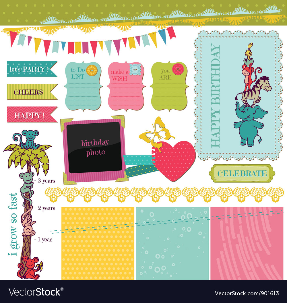 Scrapbook design elements - birthday baby set vector | Price: 1 Credit (USD $1)