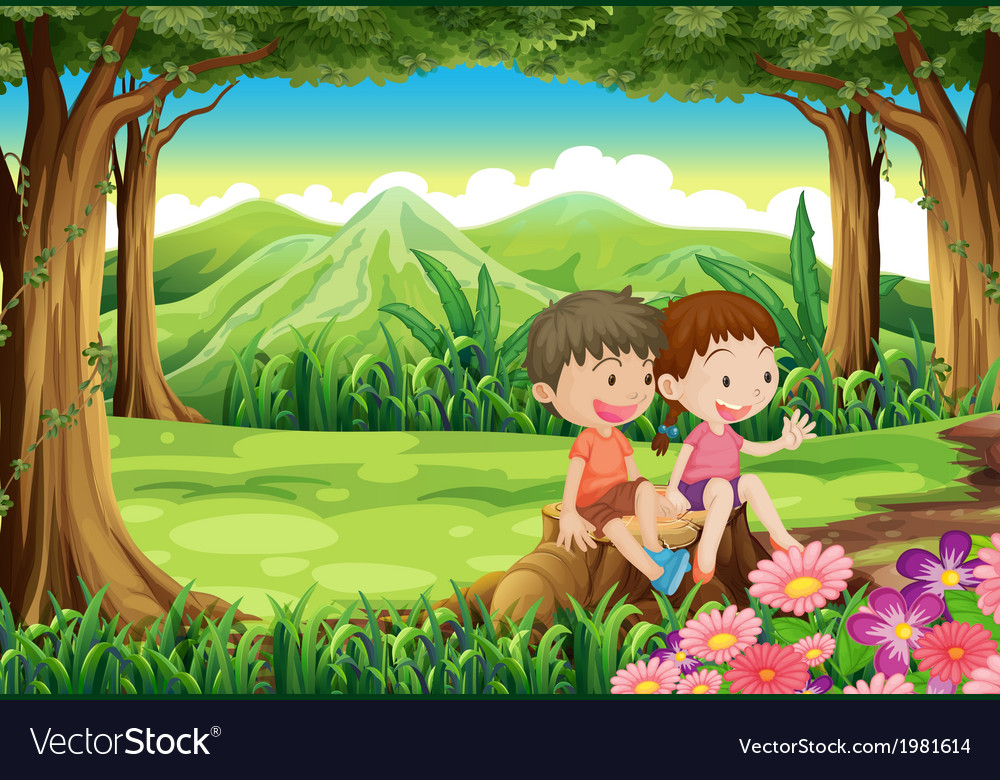 A stump with two adorable kids vector | Price: 1 Credit (USD $1)